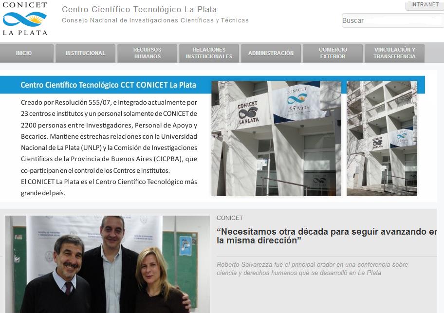 Imagen del nuevo sitio web del CCT La Plata