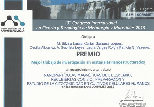 Diploma recordatorio SAM CONAMET 2013