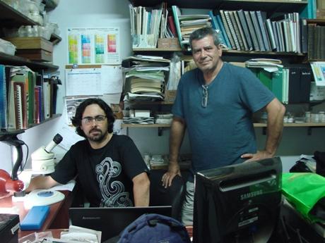 Javier Gelfo y Marcelo Reguero en el Museo de La Plata
